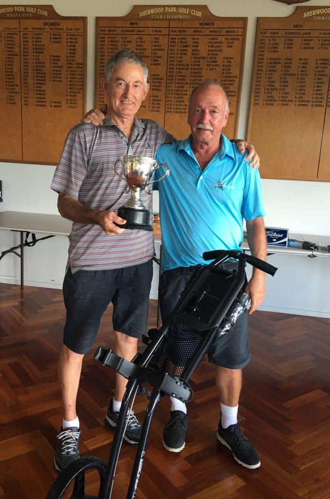 John Clark - 2019 Trophy Winner with Gary Webb, Tournament Sponsor